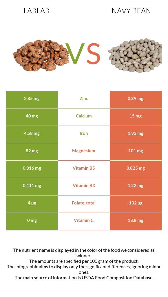 Lablab vs Navy bean infographic