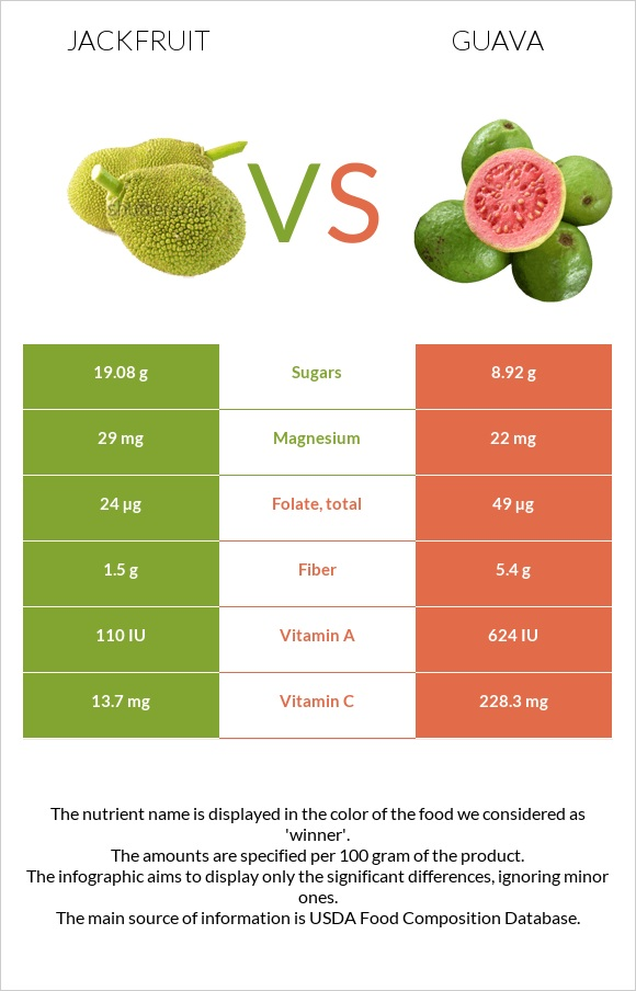 Jackfruit vs Guava infographic