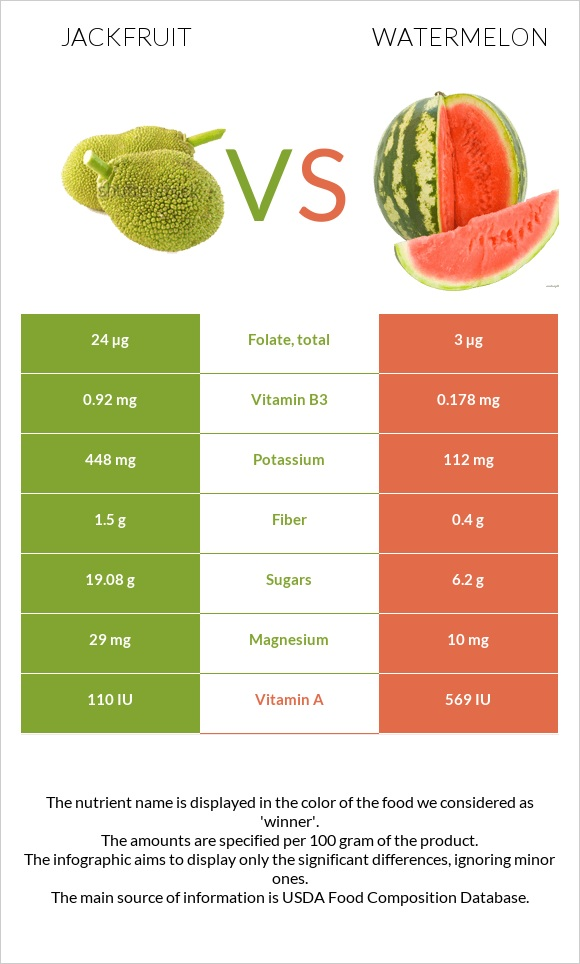Jackfruit vs Watermelon infographic