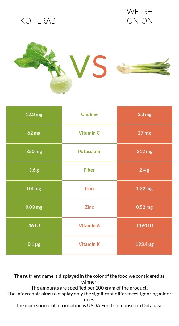 Kohlrabi vs Welsh onion infographic