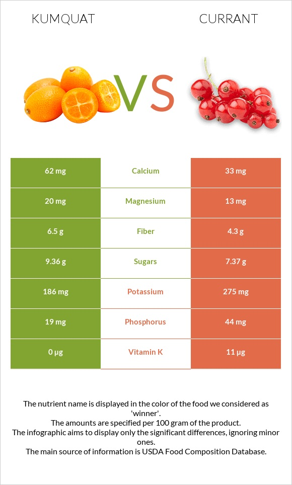 Kumquat vs Currant infographic