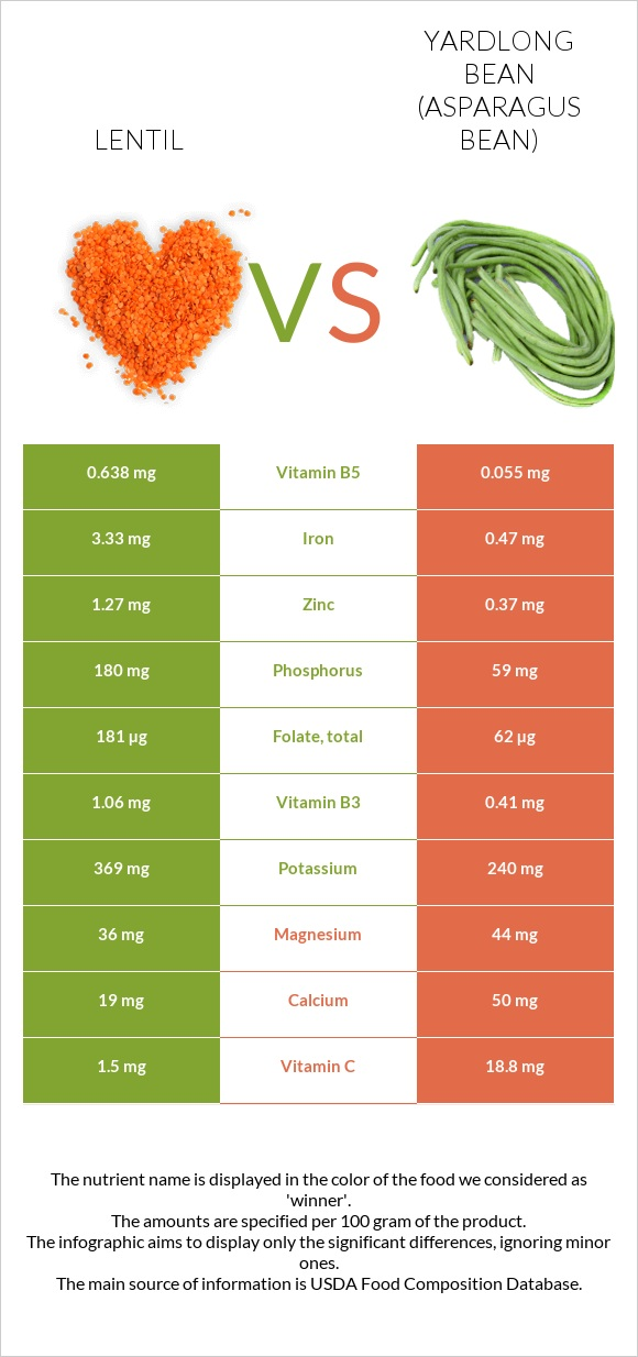 Lentil vs Yardlong bean infographic