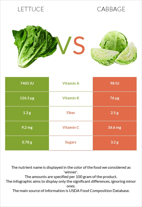 Lettuce vs Cabbage infographic