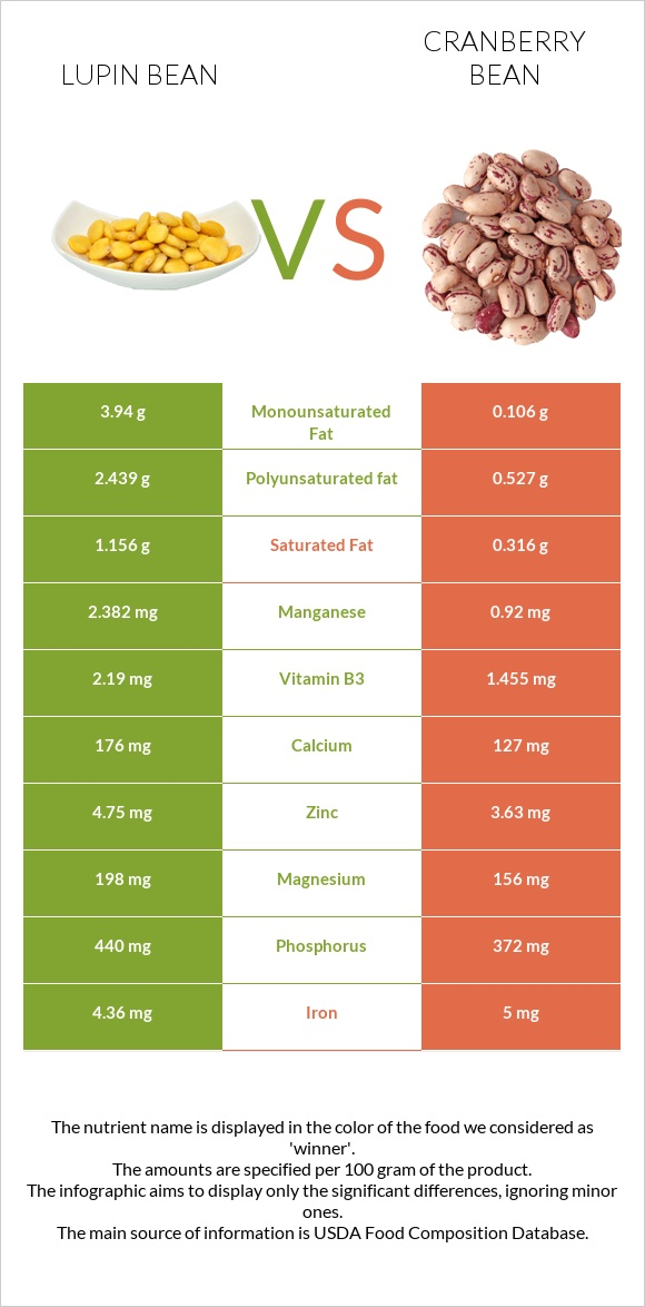 Lupin Bean vs Cranberry bean infographic