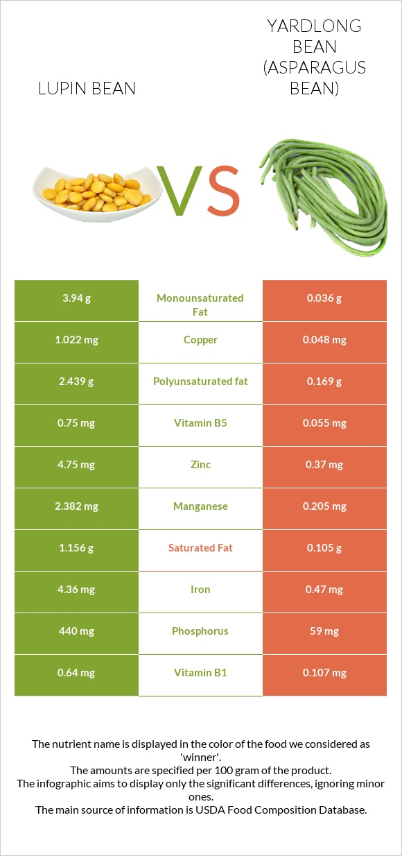 Lupin Bean vs Yardlong bean infographic