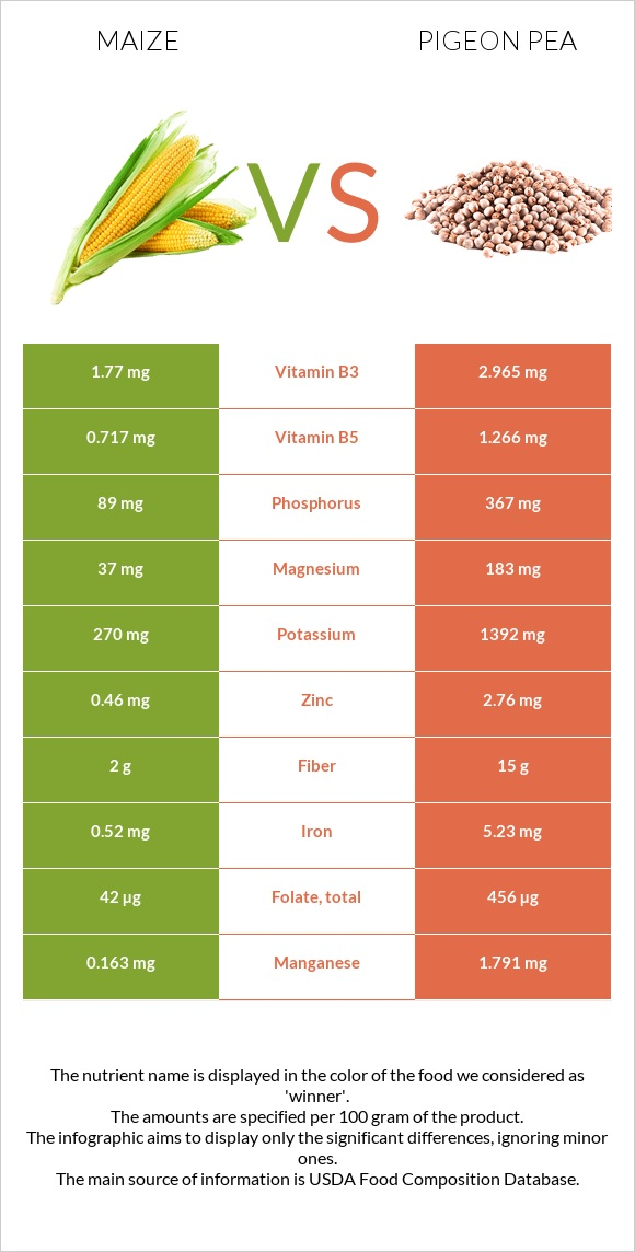 Maize vs Pigeon pea infographic
