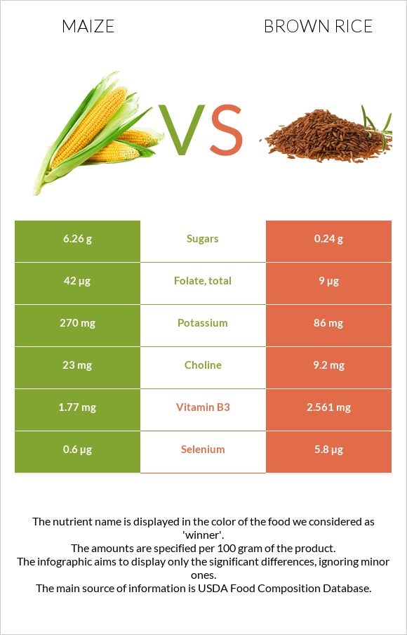 Maize vs Brown rice infographic