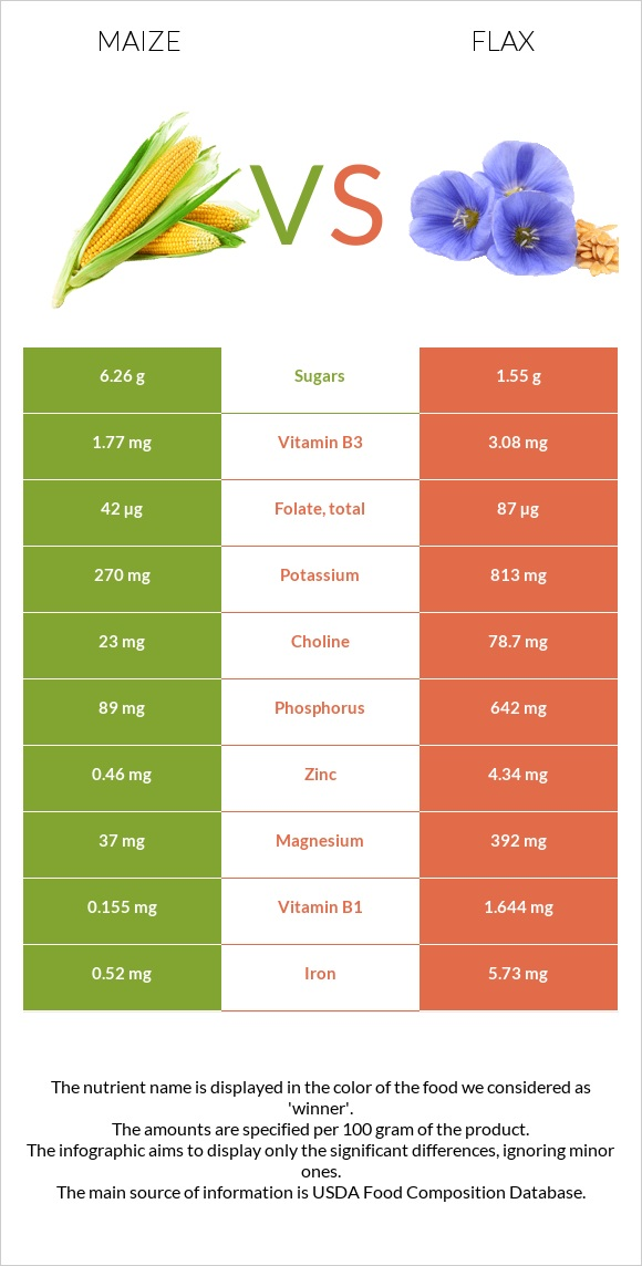 Maize vs Flax infographic