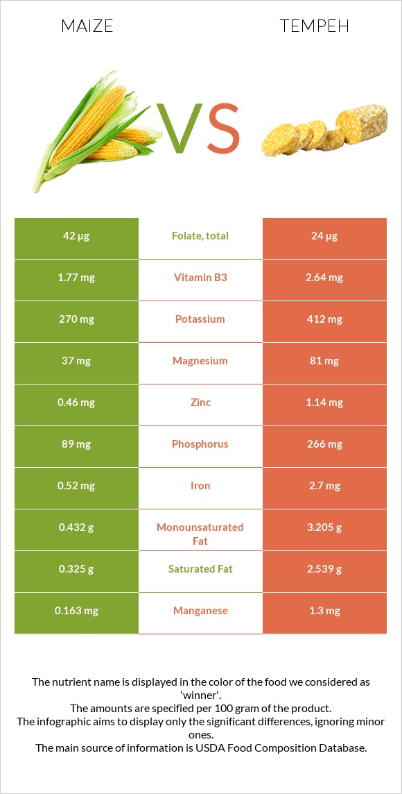 Maize vs Tempeh infographic