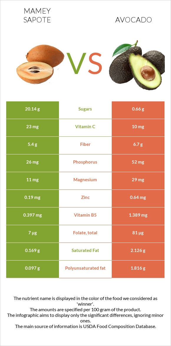 Mamey Sapote vs Avocado infographic