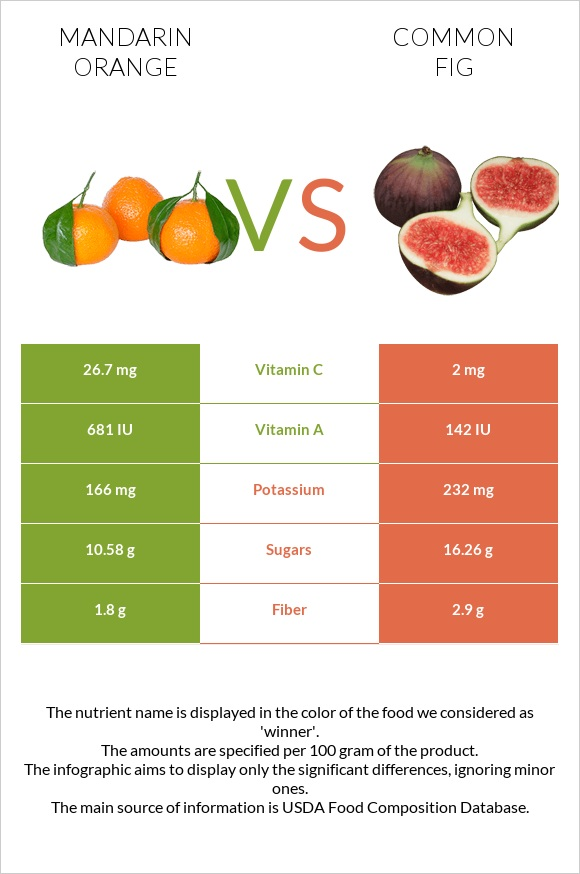 Mandarin orange vs Common fig infographic