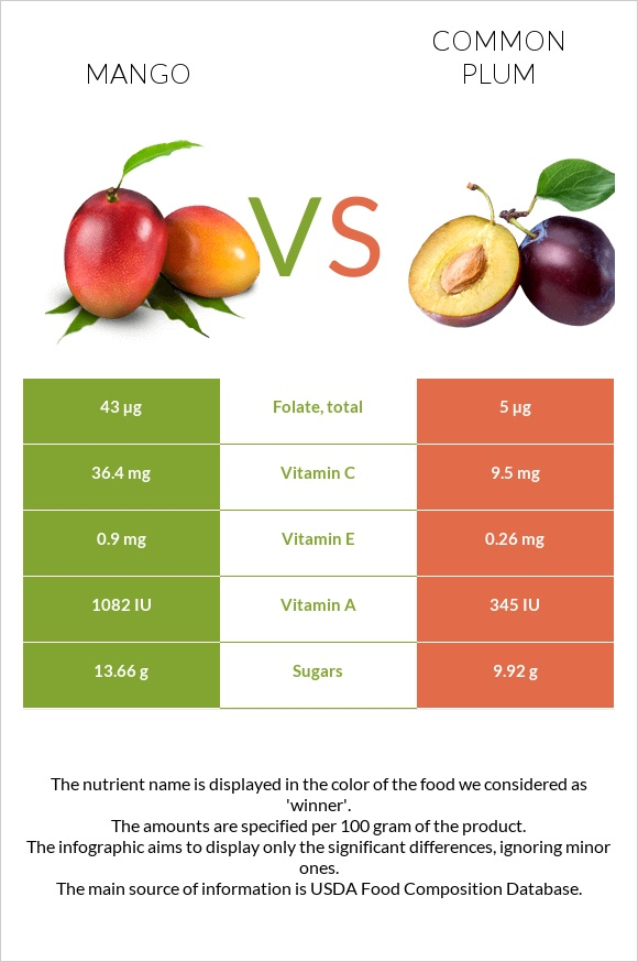 Mango vs Common plum infographic