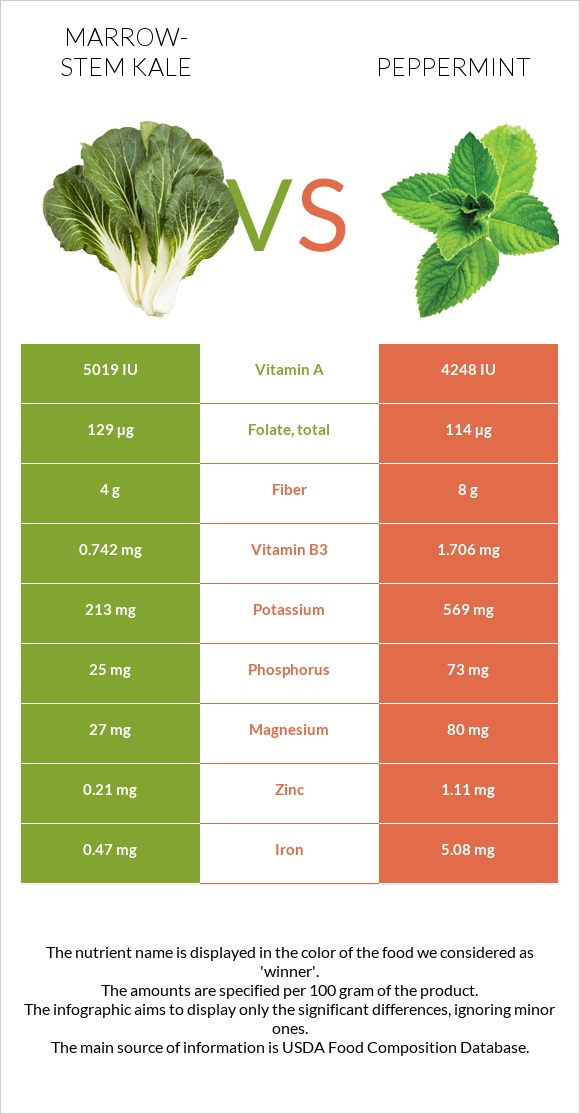 Marrow-stem Kale vs Peppermint infographic