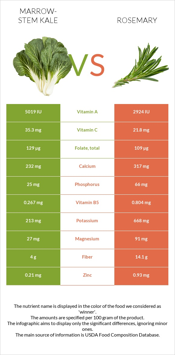 Marrow-stem Kale vs Rosemary infographic