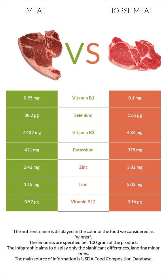 Meat vs Horse meat infographic