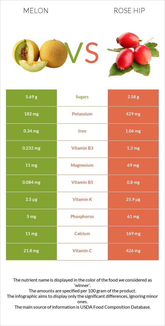 Melon vs Rose hip infographic