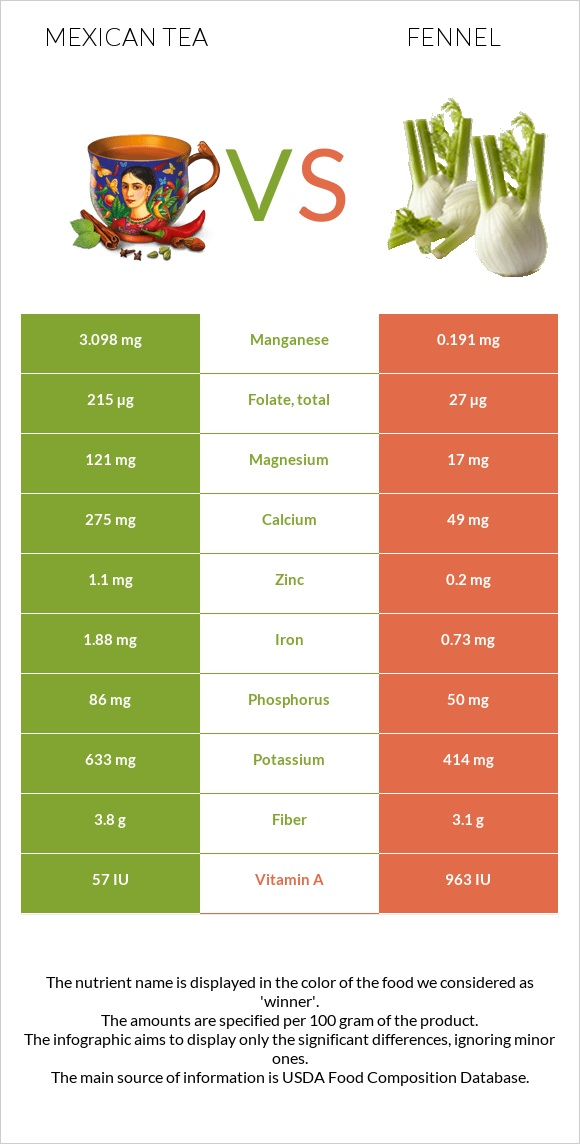Mexican tea vs Fennel infographic