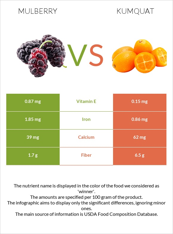 Mulberry vs Kumquat infographic