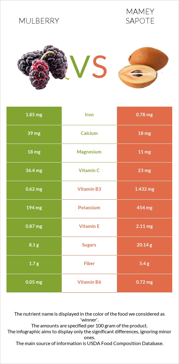 Mulberry vs Mamey Sapote infographic