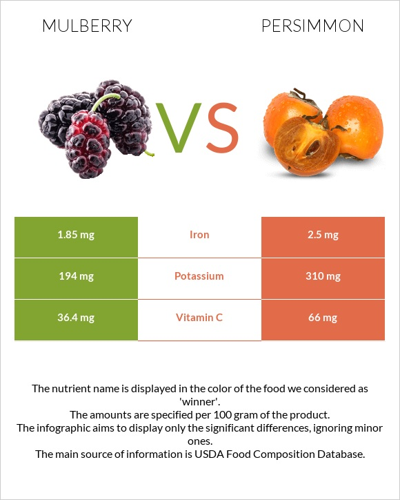 Mulberry vs Persimmon infographic