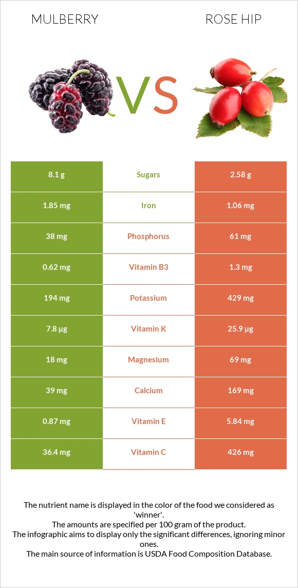 Mulberry vs Rose hip infographic
