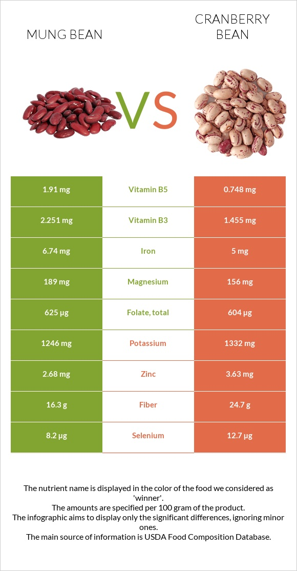 Mung bean vs Cranberry bean infographic