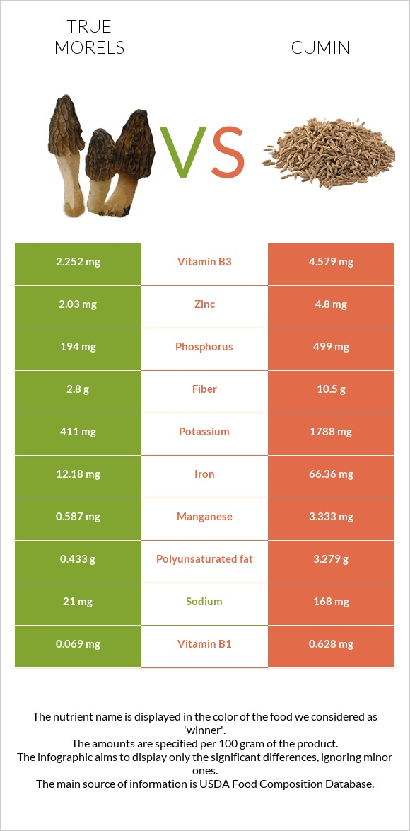 True morels vs Cumin infographic