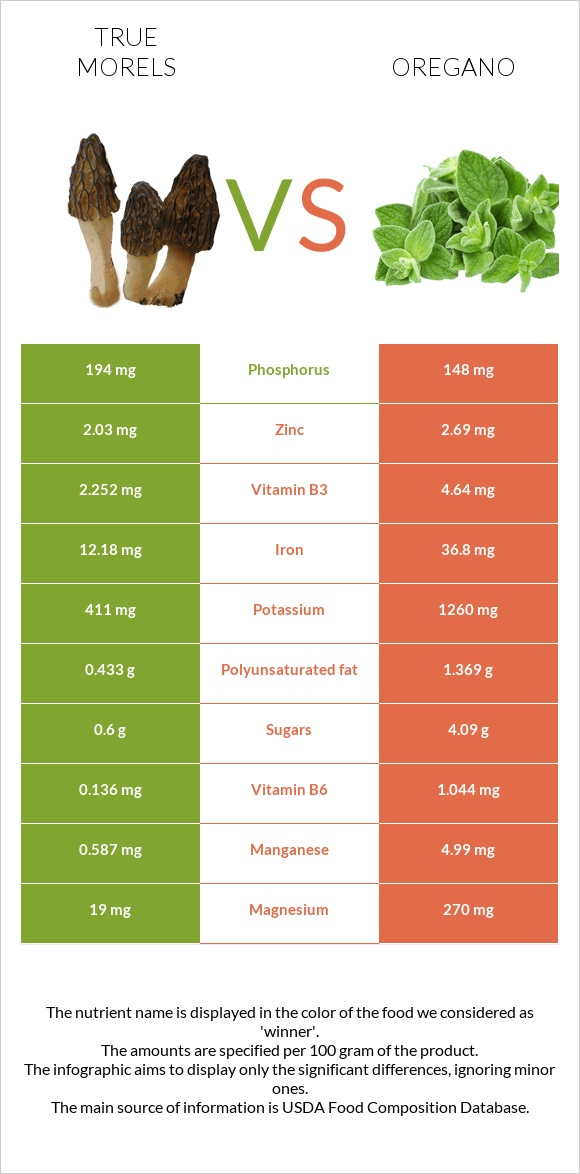 True morels vs Oregano infographic
