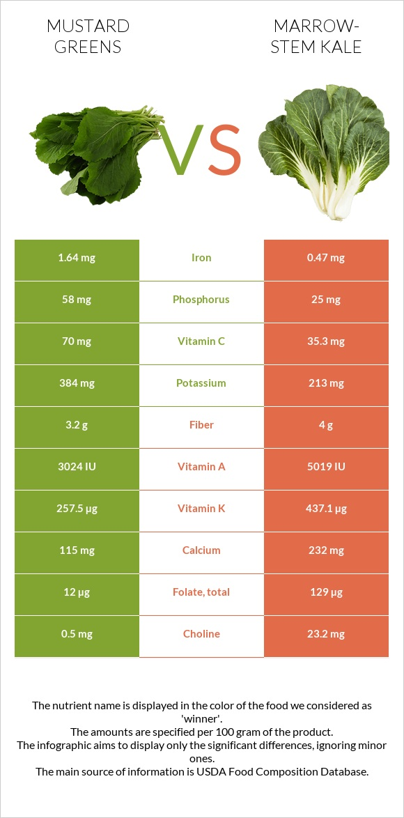 Mustard Greens vs Marrow-stem Kale infographic