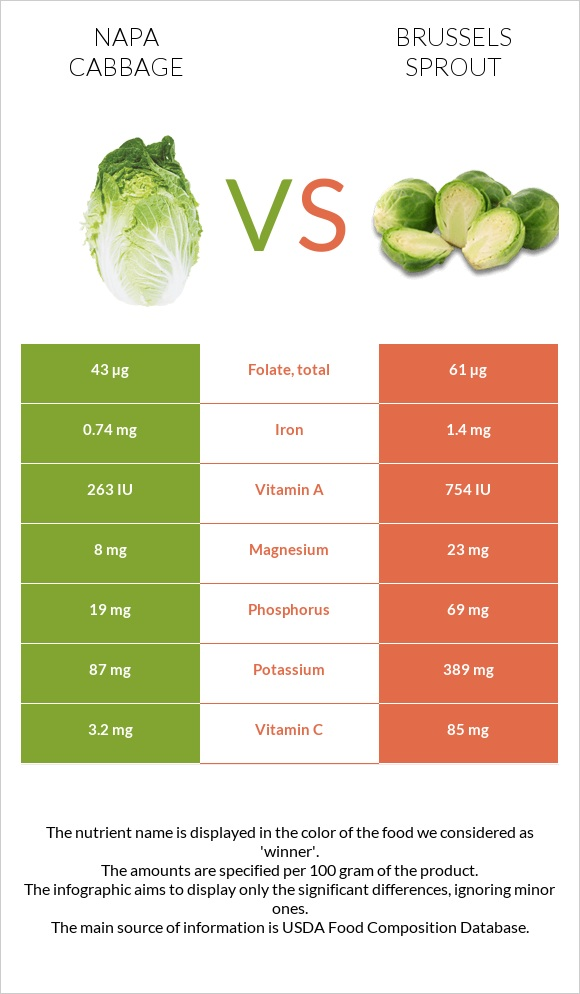 Napa cabbage vs Brussels sprout infographic