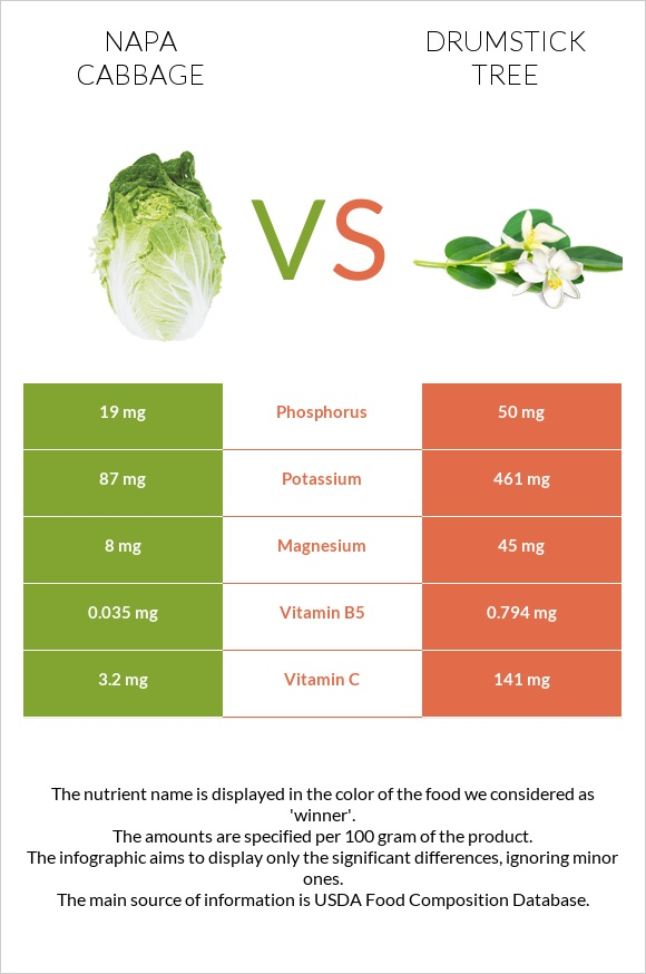 Napa cabbage vs Drumstick tree infographic