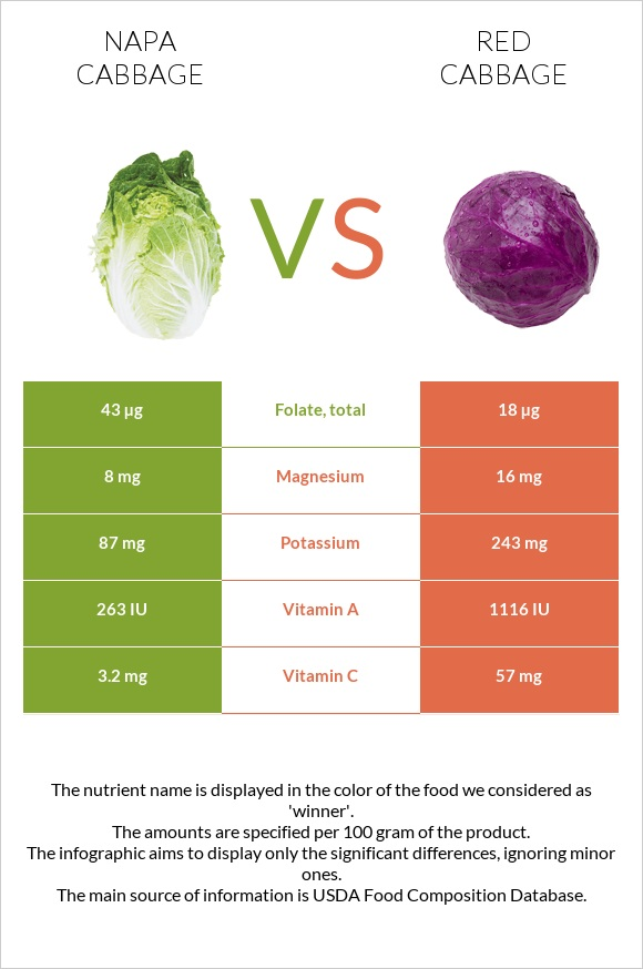 Napa cabbage vs Red cabbage infographic