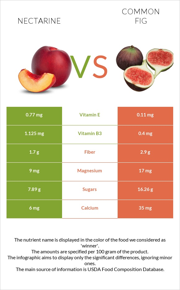 Nectarine vs Common fig infographic