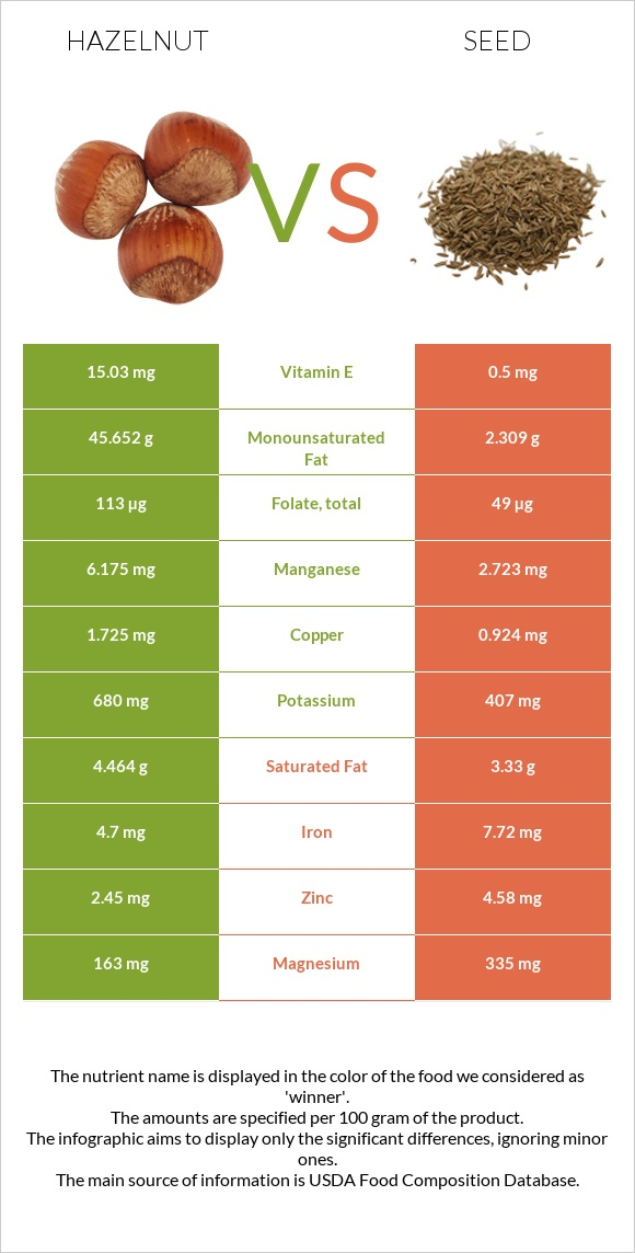 Hazelnut vs Seed infographic