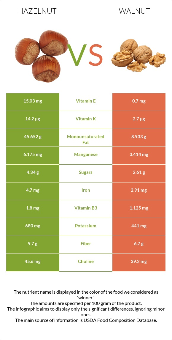 Hazelnut vs Walnut infographic