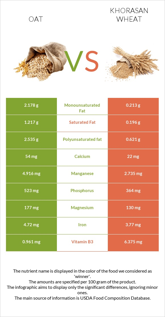 Oat vs Khorasan wheat infographic