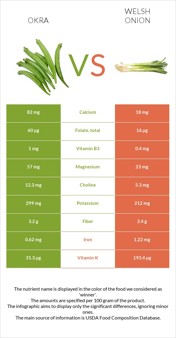 Okra vs Welsh onion infographic