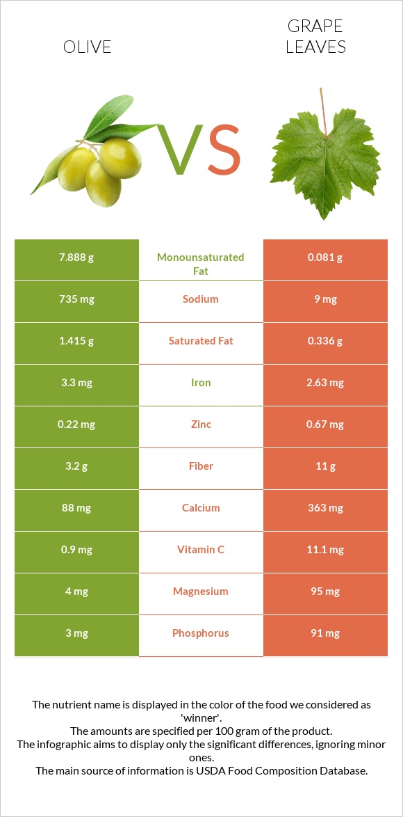 Olive vs Grape leaves infographic