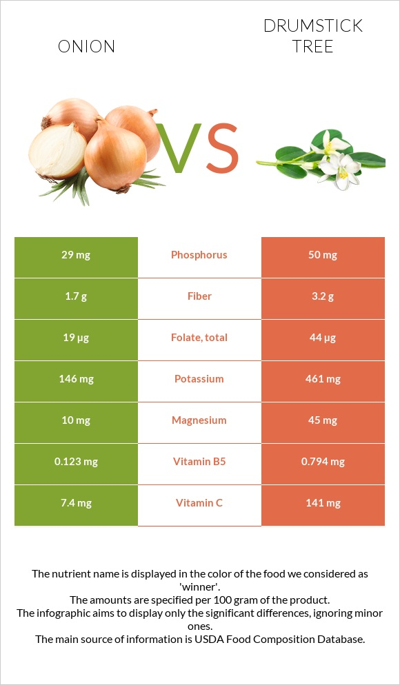 Onion vs Drumstick tree infographic
