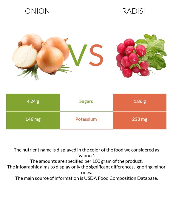 Onion vs Radish infographic