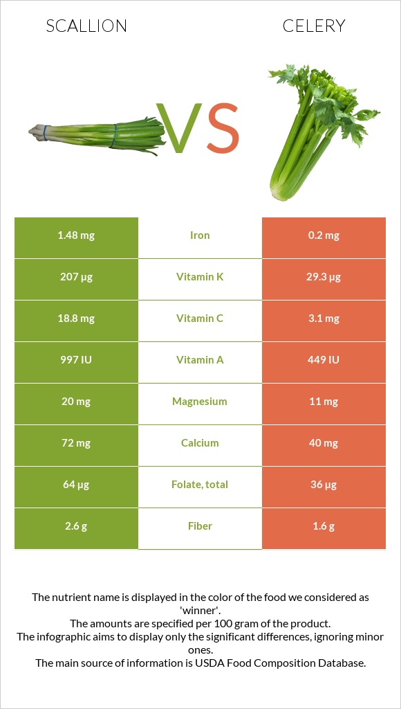 Scallion vs Celery infographic