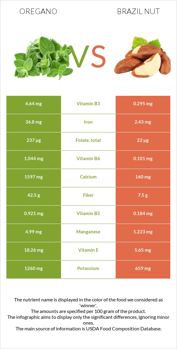 Oregano vs Brazil nut infographic