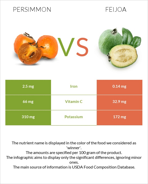 Persimmon vs Feijoa infographic