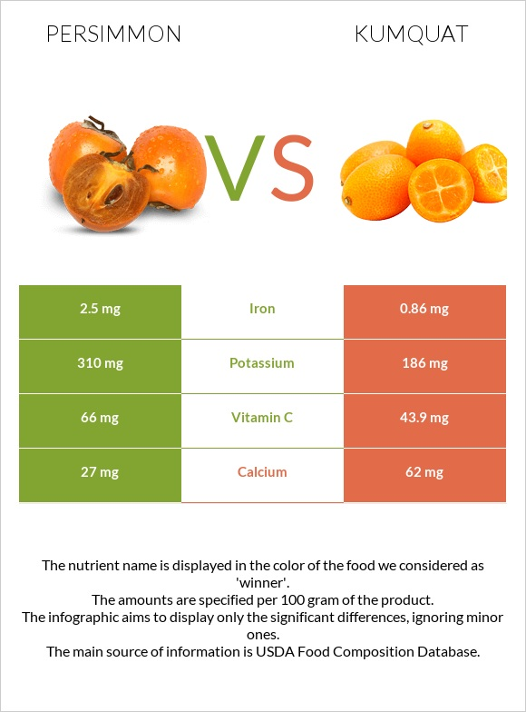 Persimmon vs Kumquat infographic