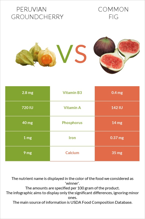 Peruvian groundcherry vs Common fig infographic