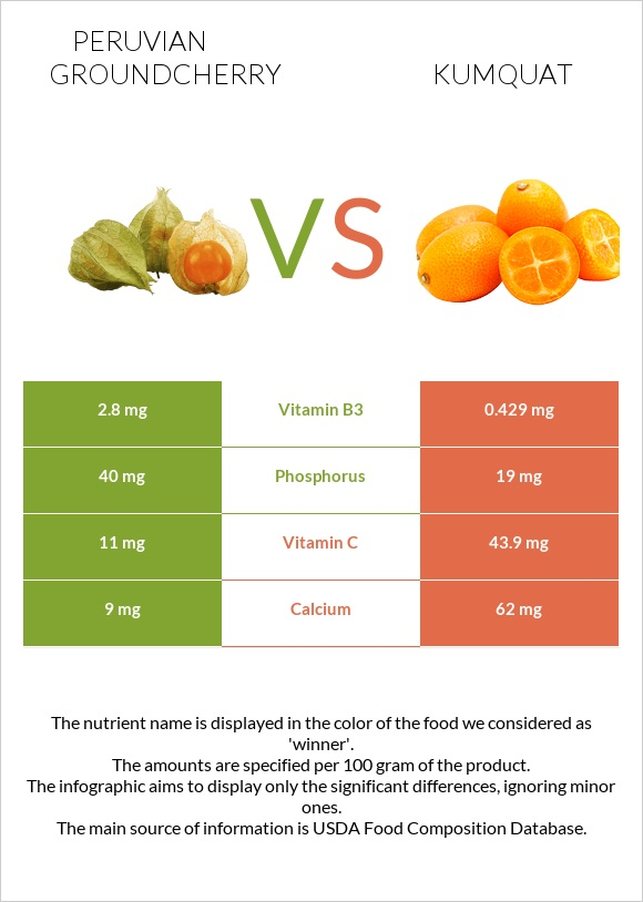 Peruvian groundcherry vs Kumquat infographic