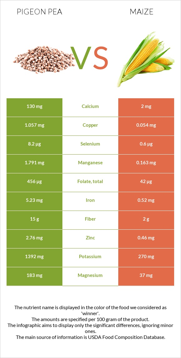 Pigeon pea vs Maize infographic