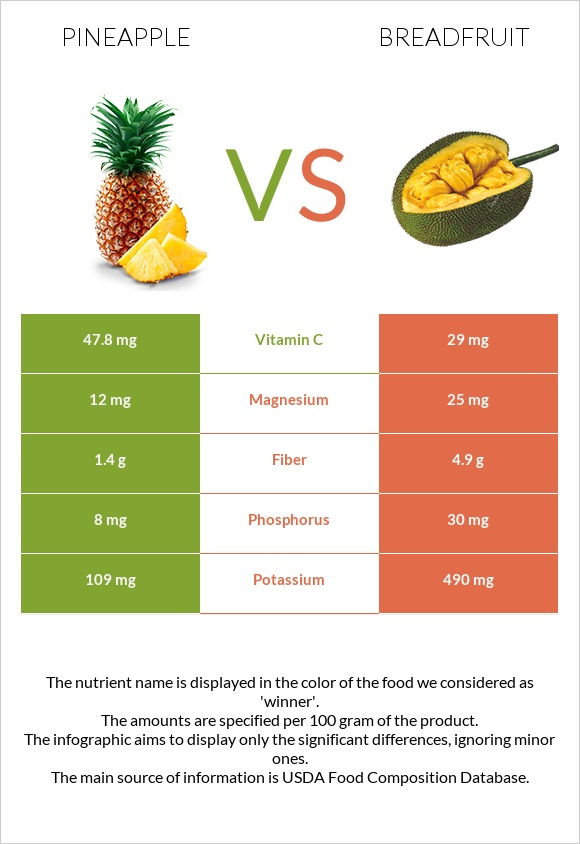 Pineapple vs Breadfruit infographic