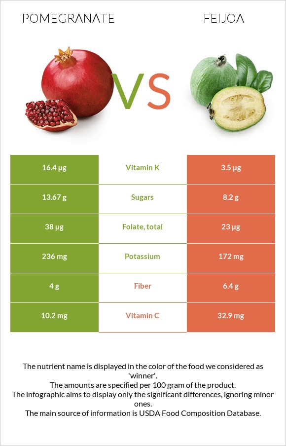 Pomegranate vs Feijoa infographic