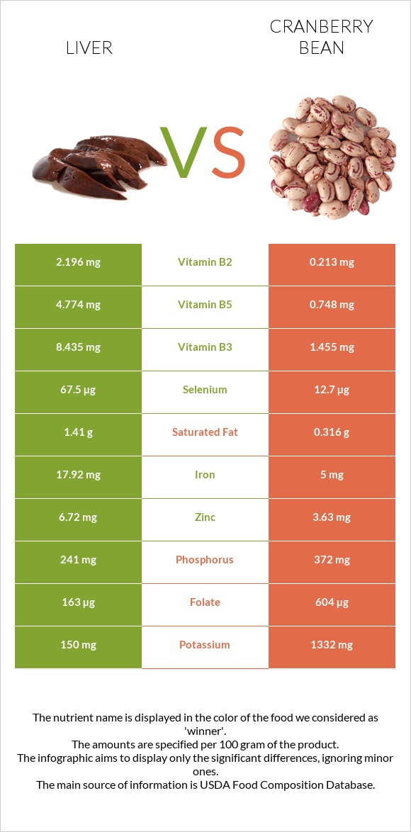 Liver vs Cranberry bean infographic